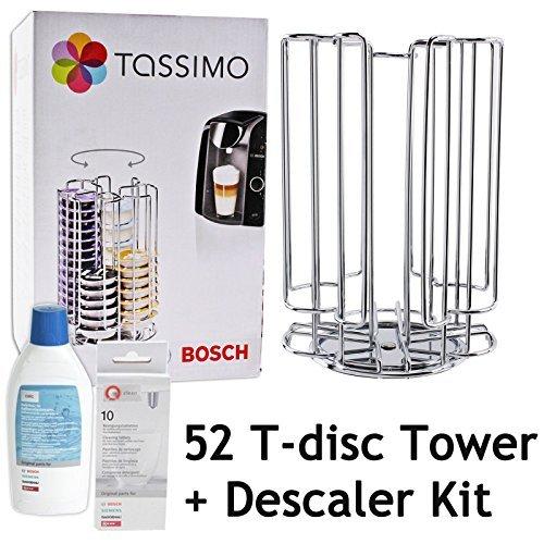Bosch Tassimo T-Discs-Kapselhalter für 52° drehbar, Tower Bosch Kaffeemaschinen-Entkalker flüssig Tablets (52 Pod Turm-Spender Antikalk-Set) (Espresso-storage-tower)
