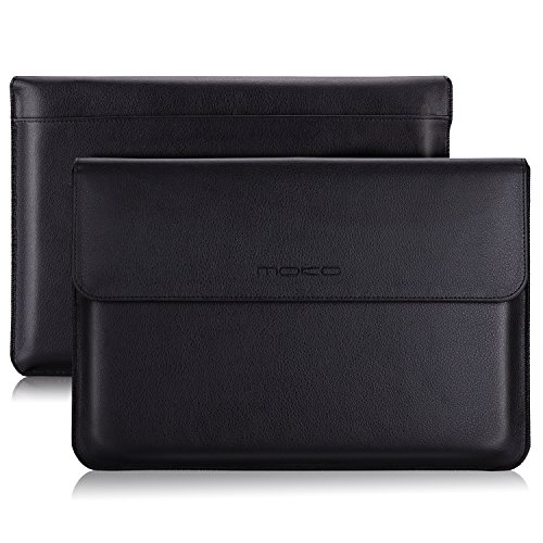 MoKo Surface Book 13.5 Zoll Laptop Hülle - PU Leder Tasche Hülle Notebooktasche Schutzhülle Ledertasche Wallet Case Leather Sleeve Aktentasche mit Karten-Slot für Surface Book 13.5 Zoll, Schwarz