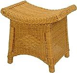 Fußhocker mit geschwungener Ablage, Stabiler Sitzhocker / Schemel / Hocker aus echtem Rattan (Honig)
