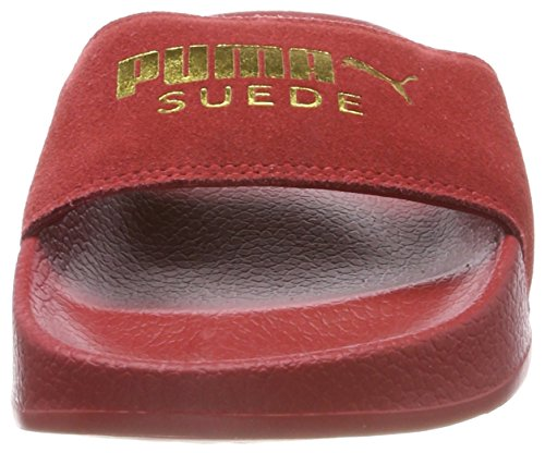 Puma Leadcat Suede, Chaussures de Plage et Piscine Mixte Adulte Rouge (Red Dahlia-puma Team Gold)