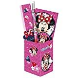 DisneyMinnieMouse 5 Teile Schreibtisch Set - Organizer Box aus Metal Inklusive Bleistift,Radiergummi, Lineal, Anspitzer und Notizblock