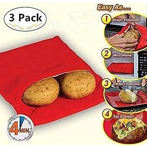 CYOUNG 3 PZ Patate Microonde Patate Pouch Lavabili Riutilizzabili Microonde Patate Bag Potato Express Bag Patate perfette Solo in 4 minuti