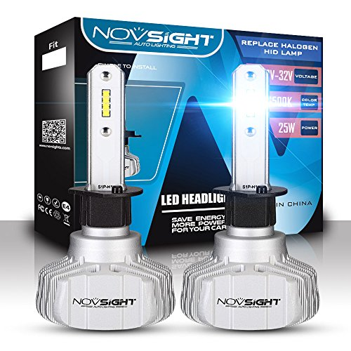 NOVSIGHT H1 Ampoule phare Voiture LED,Etanche IP65 10000LM, Certification DOT,phare de voiture Blanc Froid 6500K kit de conversion Tout-en-un (baquet de 2)