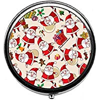 LinJxLee Merry Christmas Santa Round Pill Case Pill Box Tablet Vitamin Organizer Easy to Carry preisvergleich bei billige-tabletten.eu