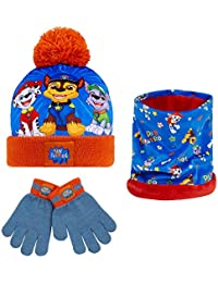 Paw Patrol Hat, Gloves and Snood Set For Boys With Chase, Marshall And Rocky