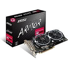 MSI AMD RX 580 ARMOR 8G OC 8 GB GDDR5 256-Bit Memory DVI/DP/HDMI PCI Express 3 Graphics Card - Black