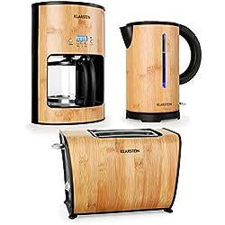 Klarstein Bamboo Garden Frühstücksset 3 teiliges Küchenset aus Bambus (Kaffeemaschine mit Timer, LED-Wasserkocher) hellbraun