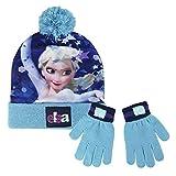 Disney Frozen 2200-2457 Set 2 Pezzi, Coordinati Invernali, Cappello Pompon, Guanti, Bambina, Multicolore, Elsa