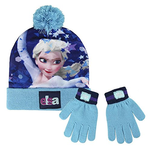 Cerdá Girl's Frozen Scarf, Hat and Glove Set, Multicoloured (Blue), 3 Years