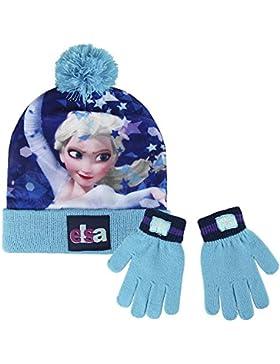 Cerdá Frozen, Set Sciarpa, Guanti e Cappello Bambina, Multicolore (Blu), 3 anni