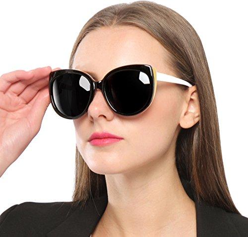 SIPLION Damen Wayfarer Sonnenbrille UV400 Schutz Polarisierte Katze Auge Übergroße 8103 Black