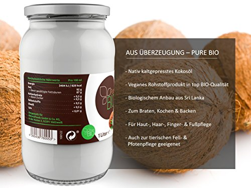 PureBIO Kokosöl 1.000 ml (1L) für HAARE, HAUT und zum KOCHEN - Kokosöl bio, nativ und kaltgepresst - 4