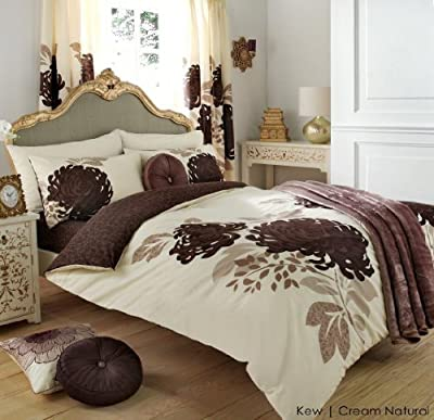 3PC KEW CREAM & NATURAL KING SIZE BEDDING BED DUVET COVER QUILT SET WITH PILLOWCASES by ZEDWarehouse produced by ZEDWarehouse - quick delivery from UK.
