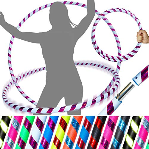 PRO Hula Hoops Reifen für Anfänger und Profis (Ultra-Grip/Glitter Deco) Faltbarer TRAVEL Hula Hoop ideal für Hoop Dance, Fitness Training, Zirkus, Festivals, Aerobic & Fun! (Weiß Grip / Lila Glitter) - Hula-hoop Glitter
