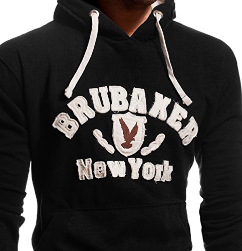 BRUBAKER Herren Sweatshirt mit Kapuze N.Y. Eagle Schwarz