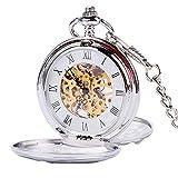 Silber Glatte Double Full Hunter Mechanische Taschenuhr, Weihnachten, Geschenk für Herren