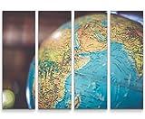 SIN-US 74 Ausschnitt eines Globus - 4 teiliges Canvas Bild 4x30x90cm