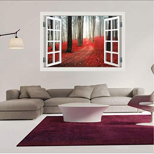 Hwhz Wohnkultur 3D Gefälschte Fenster Wandaufkleber Red Maple Grove Muster Für Wohnzimmer Wandbild Kunst Aufkleber Tapete 60X90 Cm