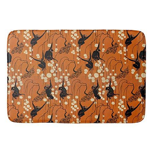 Mei-ltd Vintage Deco Moderne Monkeys & Bubbles Non-Slip Bath Mat Doormat Coral Fleece Kitchen Floor Rug Front Door Mat Funny Flannel Carpet 23.6