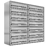AL Briefkastensysteme 14er Briefkastenanlage Edelstahl, Premium Briefkasten DIN A4, 14 Fach Postkasten modern Aufputz