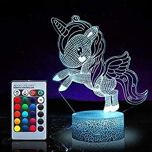 Unicornio luz nocturna para niños,