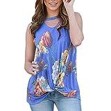 Frauen Tank Tops Casual Floral Printed Sleeveless Schlüsselloch Ausschnitt Bluse