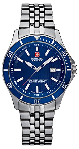 Swiss Military Flagship Lady Women's Quartz Watch with Blue Dial Analogue Display and Silver Stainless Steel Bracelet