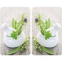 Wenko 2521420500 Cubiertas de cocina Universal Jardín de Hierbas - juego de 2 piezas para todos los tipos de cocinas, Vidrio - Vidrio endurecido, 30 x 1,8-4,5 x 52 cm, Diseño