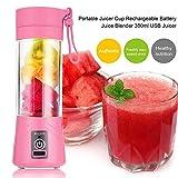Jencus 380ml USB Spremiagrumi Ricaricabile Bottiglia Succo di Frutta Miscelatore di agrumi Limone Verdure Frutta Frullato Frullato Spremiagrumi Alesatori Bottiglia Spremiagrumi (Color : Pink)