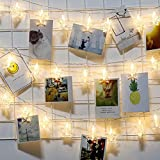 LED Photo Clip Chaîne Lights - 20 Photo Clips 3M Batterie LED Lumières photo pour la décoration Suspendre Photo, cadre photo, porte photo pince