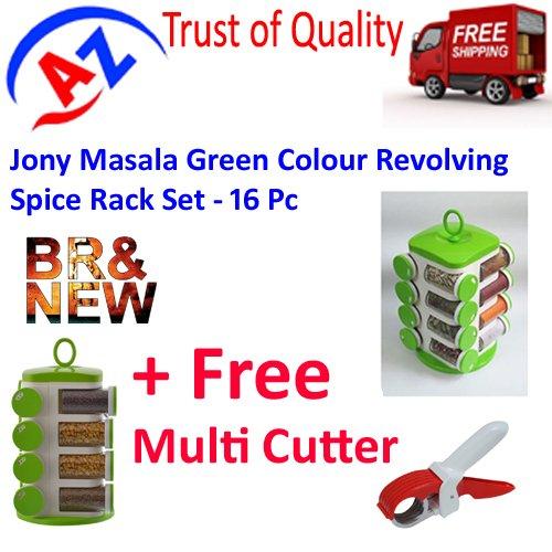 A TO Z SALES Plastic Jony Masala Colour Revolving Spice Rack Set with Multi Cutter -16 Piece