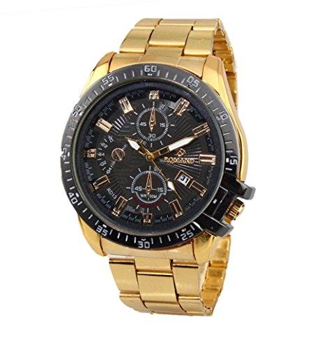 Herren Armbanduhr Quartz analog Edelstahl mit Datum RD13 Golden-Schwarz