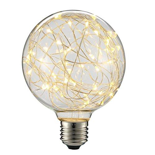 KINGSO LED Edison Lampe G95 Globe Vintage Glühbirne Lichterkette Lampe (E27, 85-265V) Ideal für Nostalgie und Antik Beleuchtung Warmweiß