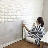 CMMING 3D Brick Wall Stickers PE Foam Self-Adhesive Wallpaper Peel and Stick 3D Art Wall Panels for TV Walls, Sofa Background Wall Decor(White)