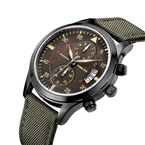 yisuya Herren 's Army Grün Militär Stil Chronograph Quarz wasserfestem Leinwand Band Casual megir Sport Armbanduhr Armbanduhren