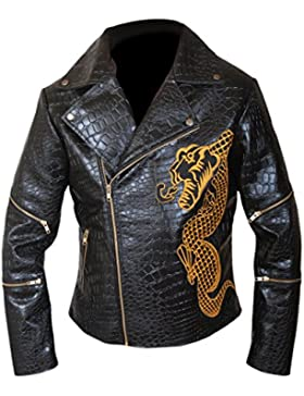 F&H Men's Genuine Cowhide Leather Killer Croc Suicide Squad Waylon Jones Jacket