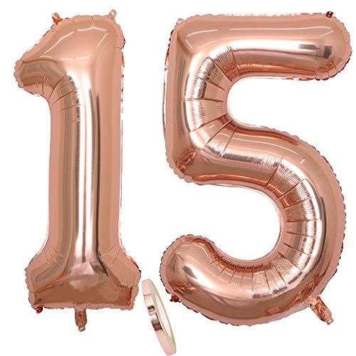 2 globos número 15, Number 15 globo rosa y dorada para niña, 40' Figuras inflables de globos de oro y helio, hojalata globo dorado para decoración de fiesta de cumpleaños, graduación (xxxl 100 cm)