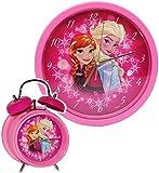 2 TLG. Set Wanduhr & Wecker -  Disney die Eiskönigin - Frozen  - 25 cm groß - Uhr - Analog - Wohnzimmer & Kinderzimmer - für Mädchen Kinder - Kinderuhr - vö..