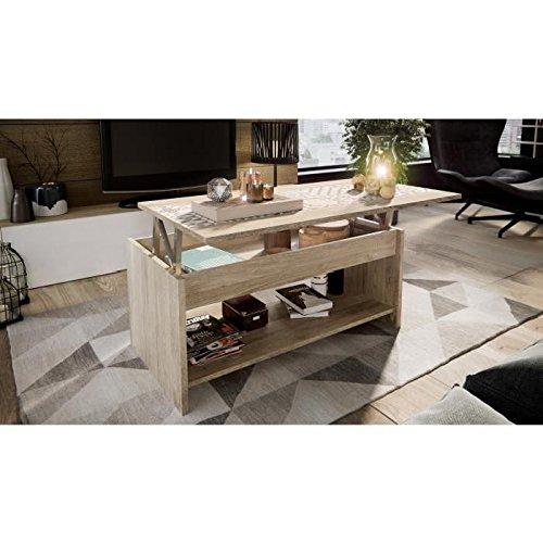 HAPPY Table basse style contemporain mélaminée décor chene clair - L 100 x l 50 cm