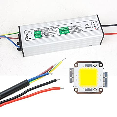 sourcingmap® 50W LED Driver Waterproof IP67 Power Supply High Power Adapter + 50W LED Chip Bulb Energy Saving For DIY Warm