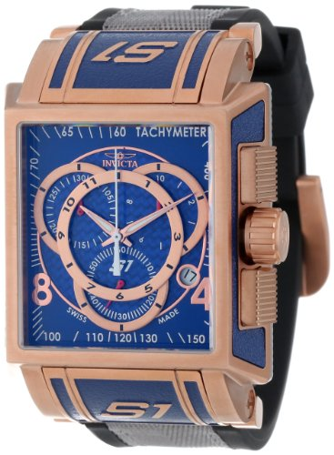 Invicta Men's 11689 S1 Chronograph Blue Dial Black Polyurethane and Grey Nylon Watch image