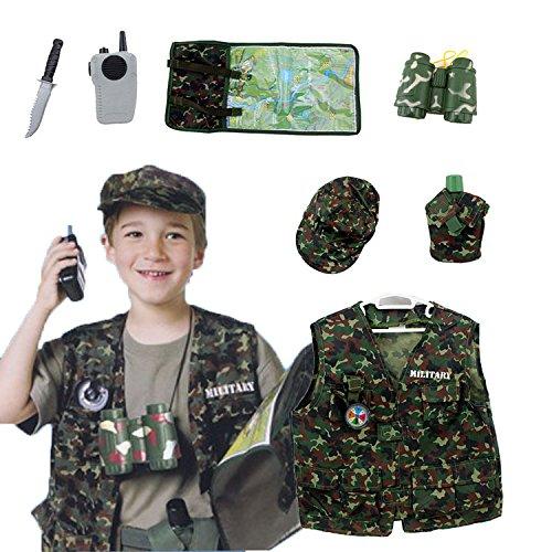 OUBEI Kinder Rollenspiel Kostüm Set Geneigter So tun, als Halloween Kostüm und Zugbegrenzer,3-7 Jahre - Soldat, One Size