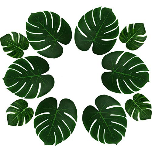 (PovKeever 24 Pièces Tropical Palm Feuilles Simulation Imitation Plante Feuille pour Table Party Hawaiian Luau Parti Jungle Plage Thème Party Décorations)