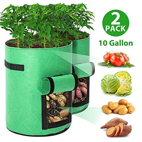 e,Kartoffel Pflanzsack 10 Gallonen mit Griffen und Sichtfenster Klettverschluss,dauerhaft AtmungsaktivBeutel Gemüse wachsen Pflanztasche -2 Pack(Grün) ()