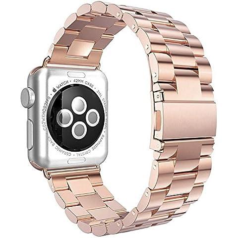 Apple Watch Band, solido acciaio inox in metallo tracolla unico processo di lucidatura Business Cinturino di ricambio Cinturino con durevole Chiusura pieghevole per iWatch Apple Watch - Metallo Link Guarda