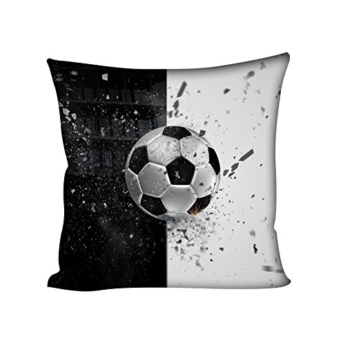 coloranimal 3D Fußball Muster Werfen Kissen Fall für Couch Sofa Schlafzimmer Büro 45,7x 45,7cm Cover, Soccer-1, 18inchx18inch