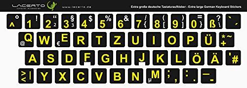 Lacerto® | 13x13mm, extra große Zeichen, deutsche Tastaturaufkleber für Sehbehinderte und Senioren, mit mattem Schutzlaminat, Farbe: Schwarz -