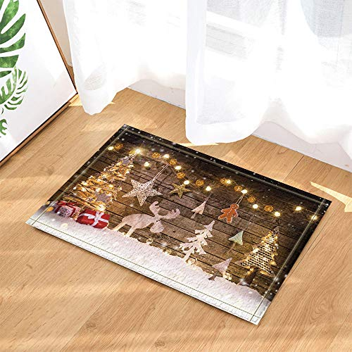 SRJ2018 Luces de Navidad Adornos Reno Pino y Regalos Súper Absorbente, tapete Antideslizante o tapete para Puerta, Suave y cómodo
