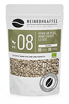 Green Coffee - Kenya AB (Green Coffee Beans) - Strong, Full, Spicy, Floral, Light Citric Acid - from Controlled Organic Farming - 500g by kaffeearomen