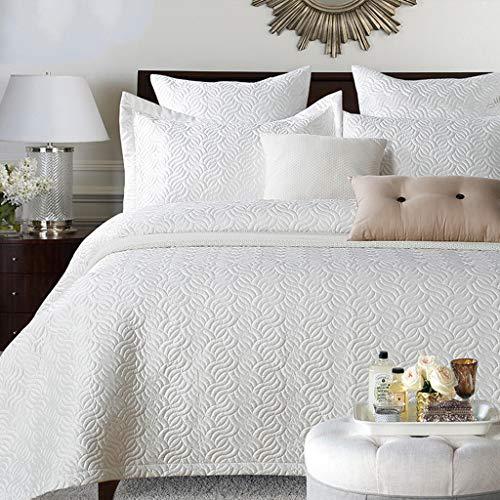 Kitzen Quilt Bedspread, 100% Baumwoll Bettdecke/Quilt 3-Teilige Sets Vintage Patchwork Quilted Twin Size,White (Vintage Bettwäsche-set Twin)